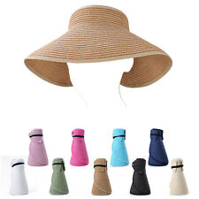 Hot Women Wide Brim Visor Straw Sun Hat Packable Foldable Roll-up Beach Summer