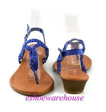 Blue Cutie Braided Loop Strap Sling Back Comfy Low Wedge Sandals Shoes