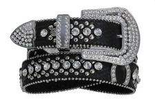 NEW! Western Black Leather Belt Horseshoes & Rhinestones Size 32-40