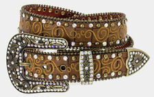 NEW! Western Brown Leather Belt, Rhinestones Size 32-40