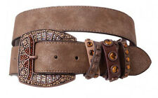 NEW! Western Leather Belt - Rhinestone Buckle Brown  Size 32-40