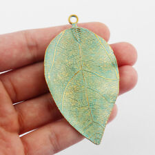 5/20pcs Large Verdigris Patina Alloy Leaf Charms Pendants Jewelry Findings 73mm