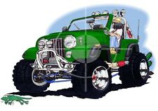 Jeep CJ Wrangler Off Road Cartoon Tshirt #4900CJ