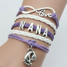 New Infinity NANA Foot Friendship Family Leather Charm Bracelet Silver Hot Style