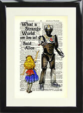Alice in Wonderland Cyberman Antique Dictionary Page Art Print Doctor Who Poster