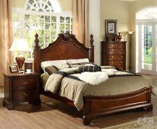 NEW CARLSBAD II DARK CHERRY WOOD FINISH FORMAL LOW PROFILE QUEEN CAL KING BED