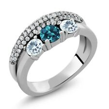 1.65 Ct Round London Blue Topaz Sky Blue Aquamarine 925 Sterling Silver Ring
