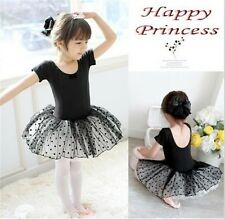 Girls Kid Party Leotard Ballet Costume Tutu Skirt Dance Skate Dress Short Sleeve