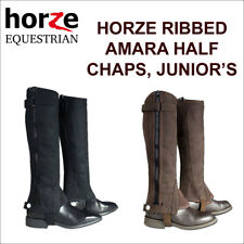 HORZE RIBBED AMARA HALF CHAPS HORSE RIDING LEATHER YOUTH CHILD