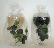 NEW SCENTED WINE GLASS+GRAPE VINE TEA LIGHT CANDLE HOLDERS; WHITE & CABERNET/RED