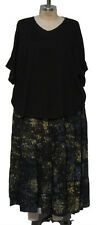 Plus Size We Be Bop Artsy MIDNIGHT Flat Rayon Tiered Skirt ART TO WEAR