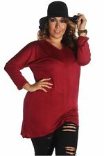 121AVENUE Classy Simple Long Sleeve Top 1X 2X 3X Women Plus Size Burgundy