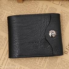 Men's Leather Card Coins Trifold Holder Purse Money Bag Hasp Wallet Brown Black
