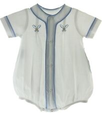 Infant Boys White Baseball Romper Outfit with Gingham Trim
