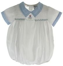 Infant Boys White Sailboat Bubble Outfit with Blue Collar