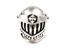 SKULL RING STERLING SILVER 925 WITH WARRIOR HELMET