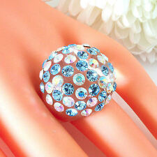 Clear Acrylic Domed Ring Numerous Blue & Rainbow Swarovski Elements Crystal Dome