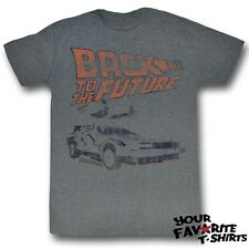 Back To The Future Delorean Distressed Officially Licensed Adult Shirt S-2XL