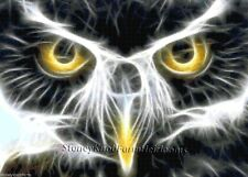 Owl Eyes Fractal ~ Birds ~ Counted Cross Stitch Pattern