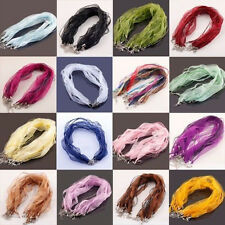 20Pcs Organza Voile String Ribbon Cord Necklace Making Lobster Clasp Chain 18''