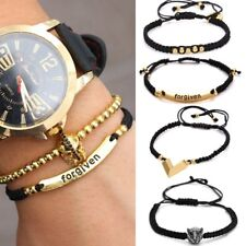 Mens Forgiven Leopard Head Adjustable Braided Macrame Bracelet Ball 11mm Beaded