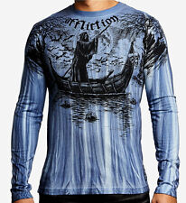 Affliction - RIVER STYX - Men's Long Sleeve T-Shirt NEW - A11960 Blue Oil Stain