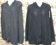 NEW REMAIN knit black or gray snap front button with hood Poncho Sweater,XS S, M