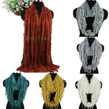 Fashion Womens Special Broken Tassel Fringe Solid Cotton Long/Infinity Scarf New