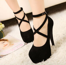 Womens Faux Suede High Heel Stilettos Cross Strappy Platform  Party Shoes Size