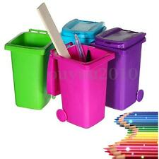 Mini Wheelie Trash Can Bin Desk Tidy Desktop Stationery Organiser Pen Pot Holder