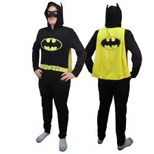 Batman Costume With Mask Union Suit Licensed Adult One Piece Hooded Pajama S-XL