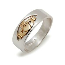 New Silver and Gold Irish Celtic Claddagh 7mm Wedding Band Ring Celtic Jewellery