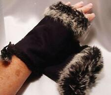 Fingerless Gloves Faux Suede with Fur Trim in 5 Colors
