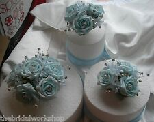 3 Wedding Flowers Rose, Diamante & Babies Breath Cake Toppers All colours