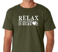 RELAX Drummer is Here Tee Shirt Funny Humor Rock Band Drum Set Musician 5 Colors