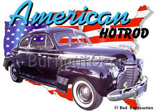 1941 Black Chevy Coupe a Custom Hot Rod USA T-Shirt 41, Muscle Car Tee's