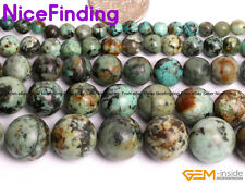 Natural Blue Africa Turquoise Round Stone Beads For Jewelry Making 4,6,8,10,12mm