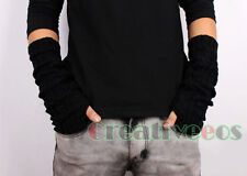 Men Womens Knit Striped  Gloves Fingerless Arm Winter Warmer Fashion Cute Gloves
