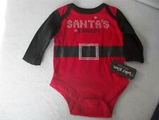 BABY GLAM Xmas one piece red black Santa suit Santa's Favorite size 3 months