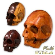 UNIQUE FINE NOBLE WOOD SKULL BEAD handcrafted carved pendant necklace rare bead