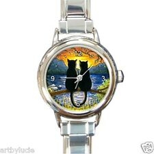Round Rect.Italian Charm Metal Watch black Cat 582 art painting L.Dumas