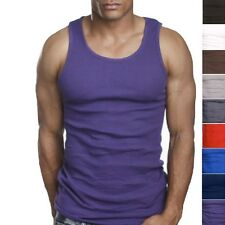 3 Quality 100% Cotton Mens A-Shirt Wife Beater Ribbed Tank Top Undershirt Vest