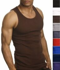 2 Premium Quality 100% Cotton Men A-Shirt Undershirt Wife Beater Muscle Tank Top