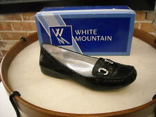 White Mountain Prize Black Leather Jeweled Buckle Loafer NEW