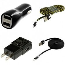 Wall & Car Charger Adapter 2X 6FT USB Charging Data Cable for Phones