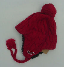 NWT Abercrombie Fitch Logo Winter Knit Trapper Hat Sherpa Lined Red Mens