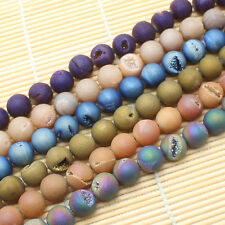 """Natural Druzy Agate Round Beads 8-14mm 7""""per strand"""
