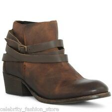 H By Hudson Brown Horrigan Strap Leather Ankle Biker Boots Shoes 5 38 - 7 40