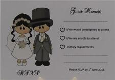 Personalised White A6 Wedding RSVP Insert Bride Groom Dress And Top Hat Design