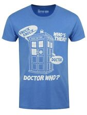 Doctor Who Dr Who Knock Knock Men's Sky Blue Dr Who T-shirt